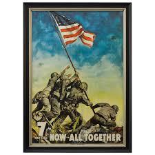 antyki i sztuka iwo jima flag raising ww2 poster now all