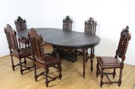 essgarnitur gründerzeit jagd tisch sechs stühle eiche massiv antik esszimmer