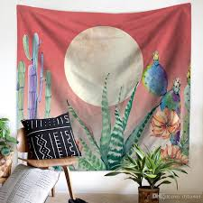 Cactus Wall Hanging Tapestry Polyester Fabric Bohemian Beach Towel Cover Throw Blanket Outdoor Picnic Yoga Mat Home Decoration Textiles Christmas Tapestries
