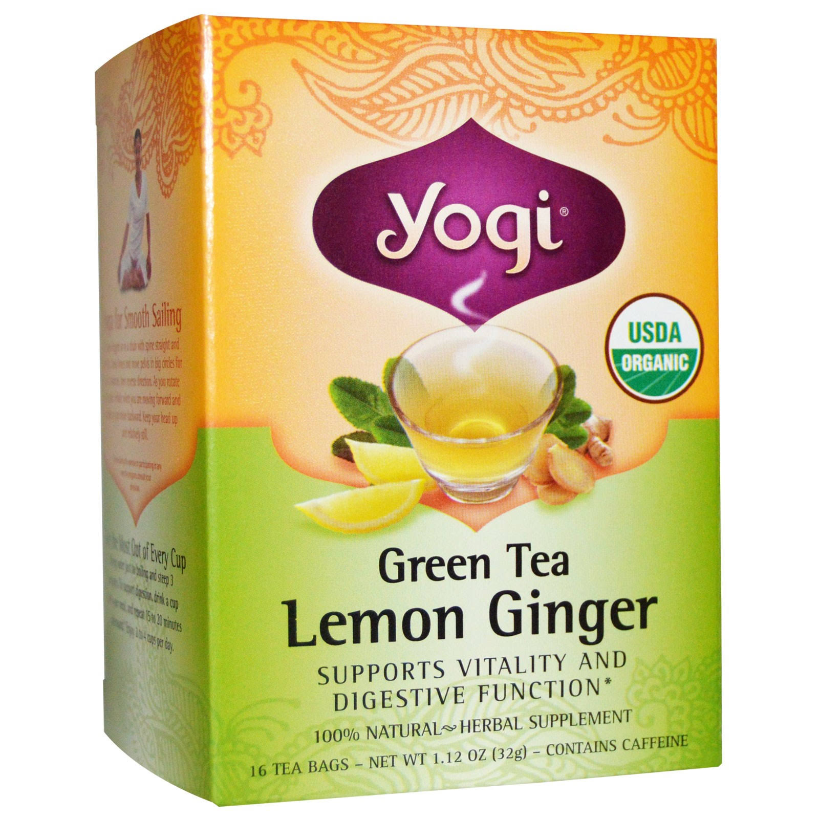 Yogi Tea Green Tea - Lemon Ginger, 16 Tea Bags