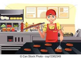 Cooking At Fast Food Vector