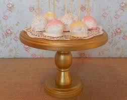 8 Wood Cake Stand Pop Gold Rustic Dessert