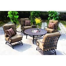 8 Person Outdoor Table by Darlee Malibu 5 Piece Cast Aluminum Patio Conversation Seating Set
