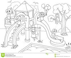 Download Childrens Playground Coloring Vector Illustration Of Black And White Stock