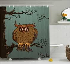 White Owl Bathroom Accessories by Fabulous Owl Designer Shower Curtains With White And Grey Wall