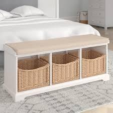 gepolsterte sitzbank lummen mit stauraum brambly cottage farbe altweiß