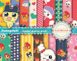 Tamagotchi Digital Papers Scrapbooking Party Supplies Game Invitations Pastel Soft
