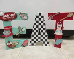 Retro Eat Paper Mache Letters Kitchen Decor 50s Diner