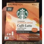Keurig Pumpkin Spice Coffee Nutrition by Starbucks K Cup Pack Pumpkin Spice Caffe Latte Calories