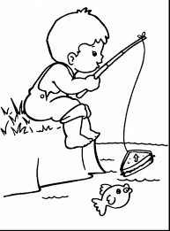 Amazing Little Boy Fishing Coloring Page With Boys Pages And Childrens Animals