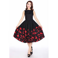 black retro cocktail dress with red floral print plus sizes