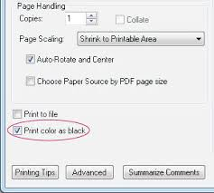 Select Print Color As Black
