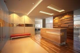 Executive Office Reception Design With False Ceiling And Elegant Lighting Also Lounge Sofa