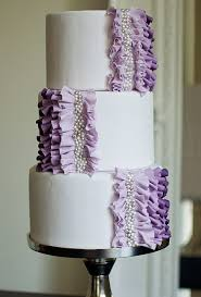 Wedding Cake with Purple Ruffles and Pearls