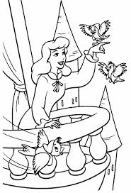 Cinderella And Friends Bird Coloring Pages