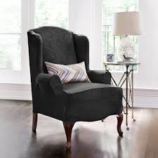 Sure Fit Wing Chair Recliner Slipcover by Bedroom Endearing Sure Fit Scroll Classic Wing Chair Recliner