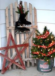 A Minnow Bucket With Tiny Tree Lights And Plaids Can Be The Perfect Idea For Rustic Decor Here It Is Accentuated Wooden Star Skate Shoes