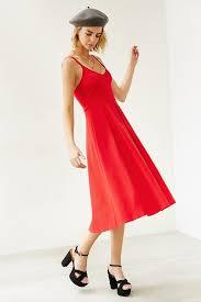 kimchi blue ponte empire waist midi dress in red lyst