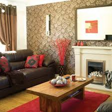 Brown Living Room Red Accents