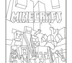 Minecraft Color Pages Best Mobs Coloring Free Printable Picture