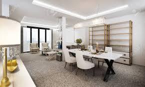 der luxus wohnzimmer und esszimmer innenarchitektur und weiße wand hintergrund