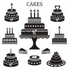 Black Birthday And Wedding Cakes Vector Silhouette Collection Royalty Free Cliparts Vectors And Stock Illustration Image