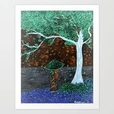 Cherry Tree Geisha Invert Color Art Print By Rachel Huggins