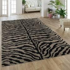 hochflor teppich wohnzimmer zebra design