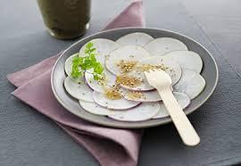 cuisiner navets nouveaux carpaccio de navets au sésame recette interfel les fruits et