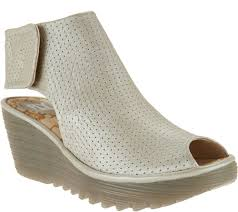 fly london leather perforated peep toe wedges yahl page 1