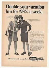 United Airlines Stewardess National Car Girl 1969