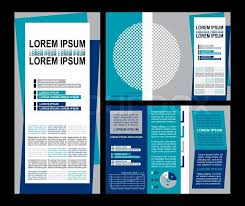 Business Brochure Layout Three Fold Flyer Template Design Presentation Cover And Pages With Modern Art Elements In Blue Color Creative Solutions For