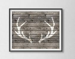 Rustic Wood Print Antler Texture Poster Deer