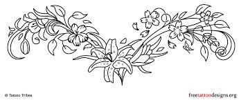 Floral Lower Back Tattoo Design