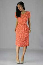 modest dresses in coral bird print