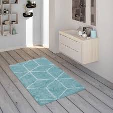 badematte mit rauten muster kurzflor teppich für badezimmer in türkis weiß