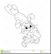 Superb Coloring Page Outline Of Funny Bunny Carrying Big Carrot With And