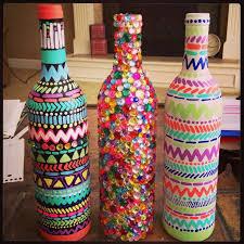 Hand Painted Wine Bottle Vase