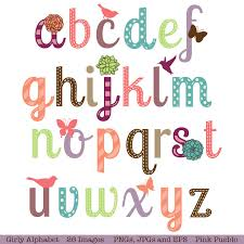 Girly Alphabet Scrapbook Aphabet Font with Birds Butterfly
