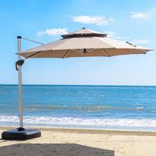 Patio Umbrella Offset 10 Hanging Umbrella by Purple Leaf 11 Feet Double Top Deluxe Patio Umbrella Offset