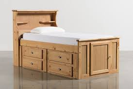 Summit Caramel Twin Bookcase Bed With Single 4 Drawer Storage