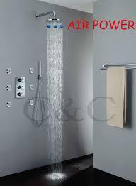 thermostat dusche wasserhahn ventil 10 zoll luft tropfen regendusche kopf verchromt regen badezimmer bad duscharmaturen set