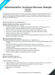 Samples Of Administrative Resumes Sample Resume For Assistant Position Greatest