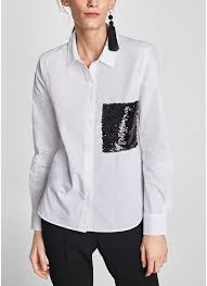 Women Long Sleeve Vintage Blouse Shirt Sequin Pockets Ladies OL Loose