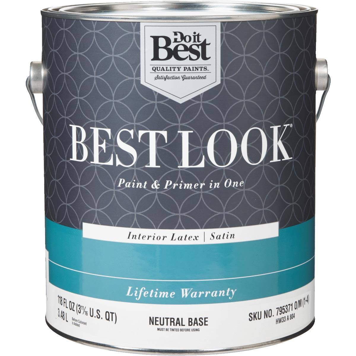 Best Look Latex Paint & Primer in One Satin Interior Wall Paint