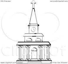 Royalty Free RF Clipart Illustration Of A Coloring Page Outline Church Facade With Clock Tower And Columns By Andy Nortnik