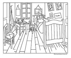 gogh la chambre pour imprimer ce coloriage gratuit coloriage gogh chambre