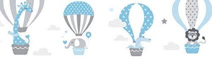 lovely label bordüre selbstklebend heissluftballons blau grau wandbordüre kinderzimmer babyzimmer mit tieren wandtattoo schlafzimmer mädchen