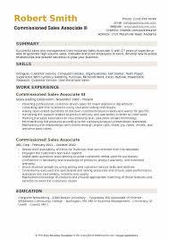 Commissioned Sales Associate III Resume Model