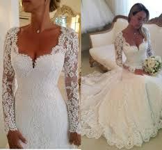 2016 vestidos de noiva long sleeves lace sheath wedding dresses v